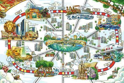 """插画师""""花爷爷""""手绘的云顶国际博彩地铁线路图。(云顶国际博彩龙湖地产供图)"""