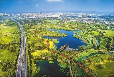 航拍镜头下的锦城绿道。 图片由成都市建委提供