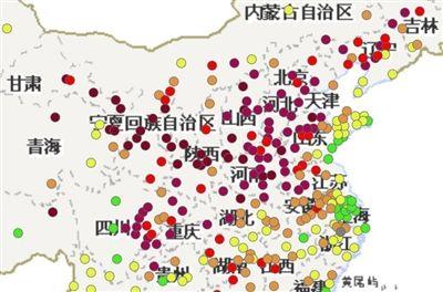12月28日23时,环保部官网发布的城市AQI实时报