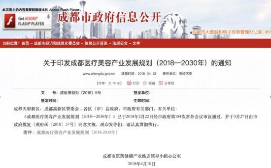 成都市正式发布了《关于印发成都医疗美容产业发展规划(2018―2030)的通知》。