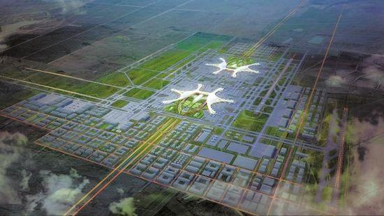 成都天府国际机场远期整体鸟瞰。(效果图)