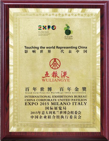 2015年11月27日,五粮液荣获意大利米兰百年世博百年金奖。