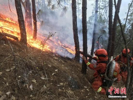 资料图为消防队员火场火场扑火。 丁庚 摄