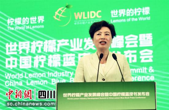 资阳市长吴旭作为代表发布世界柠檬工业绿色发展宣言。王磊 摄