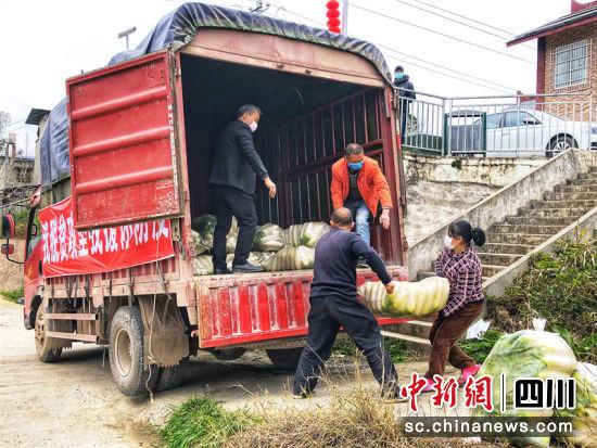 正在搬运蔬菜上车。简阳宣 摄