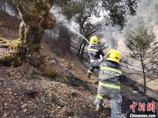 四川木里森林火灾:消防救援力量边供水边协助扑打火点