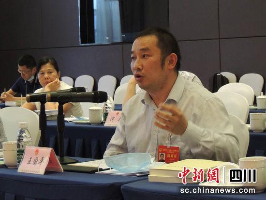 成都市人大代表、成都市作家协会副主席王国平在分团讨论中发言。钟欣 摄