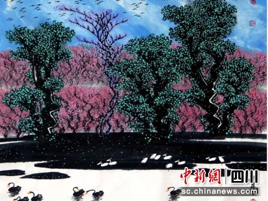 贾雨画作《候鸟天堂》。贾雨 提供