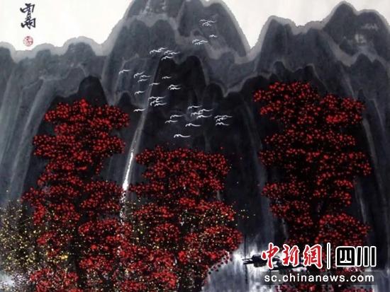 贾雨画作《秋山有诗白鹭飞》。贾雨 提供