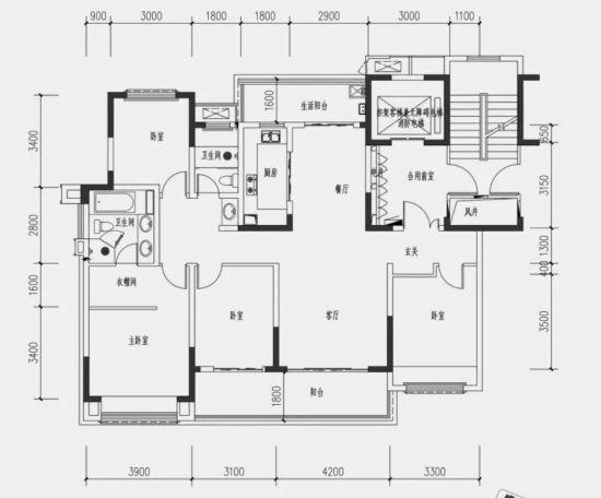建面约161平米四室两厅两卫户型图