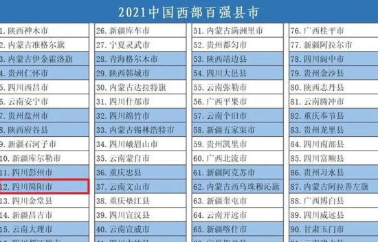 简阳位列百强县(市)名单12名。简阳市委宣传部 供图